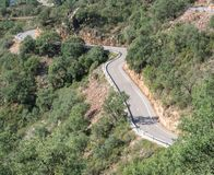 Top view of mountain road with curves Royalty Free Stock Image