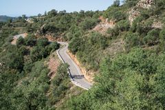 Top view of mountain road with curves Royalty Free Stock Photo