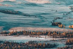 Top view of the mountain valley with hills. And pine forest on a Sunny morning stock photo