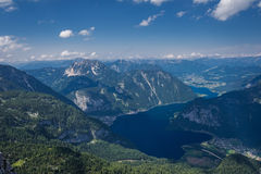Top view of the mountains and the lake in Austria. Stock Photography