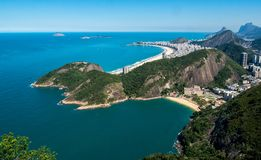 A top view on the beautiful Copacabana beach in Rio de Janeiro, Brasil. A top view from mounte the sugar orca on the beautiful Copacabana beach in Rio de Janeiro royalty free stock photos