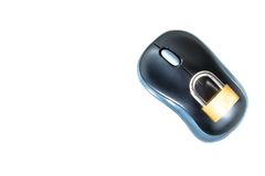 Top of view of mouse with lock security, computer security concept Royalty Free Stock Images