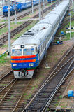 Top view of moving diesel train, Gomel, Belarus Royalty Free Stock Photography