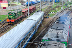 Top view of moving trains, Gomel, Belarus Royalty Free Stock Photography