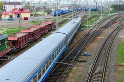 Top view of moving trains on marshalling yard, Gomel, Belarus Stock Photo