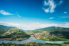 Top View Of Mtskheta Georgia At Confluence Of Rivers Mtkvari Aragvi Royalty Free Stock Image