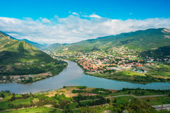Top View Of Mtskheta Georgia At Confluence Of Rivers Mtkvari Aragvi Stock Photography