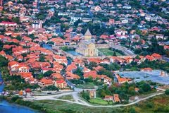 The Top View Of Mtskheta, Georgia, The Old Town Lies At The Confluence Of The Rivers Mtkvari And Aragvi and monastery Royalty Free Stock Images