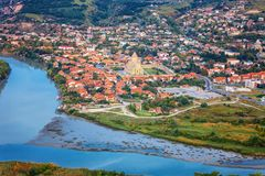 The Top View Of Mtskheta, Georgia, The Old Town Lies At The Confluence Of The Rivers Mtkvari And Aragvi Stock Images