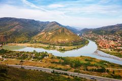 The Top View Of Mtskheta, Georgia, The Old Town Lies At The Confluence Of The Rivers Mtkvari And Aragvi Stock Photo