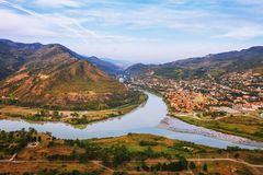 The Top View Of Mtskheta, Georgia, The Old Town Lies At The Confluence Of The Rivers Mtkvari And Aragvi Royalty Free Stock Photo
