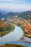 The Top View Of Mtskheta, Georgia, The Old Town Lies At The Confluence Of The Rivers Mtkvari And Aragvi Stock Photos