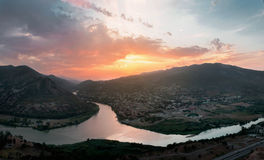 Top View Of Mtskheta, Georgia, The Old Town on sunset Stock Images