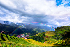 Top view of Mu Cang Chai City with the rainbow Royalty Free Stock Photo