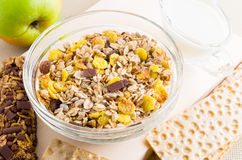 Top view of a muesli in glass bowl and dry bread Stock Images