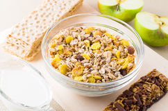 Top view of a muesli in glass bowl Stock Images