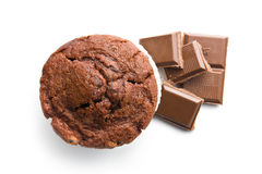 Top view of muffin and chocolate stock photo