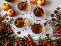 Top view of mulled apple cider with spices: cinnamon sticks, cloves, anise on white table stock images