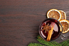 Top view of mulled wine glass Stock Photography