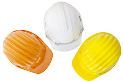 Top view of multicolor safetyt,construction ,protection helmet Royalty Free Stock Photo