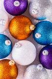 Top of view multicolored christmas balls Royalty Free Stock Images