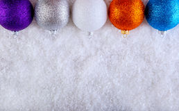 Top of view multicolored christmas balls. Stock Photography