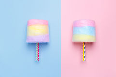 Top view of the Multicolored cotton candy. Minimal style. Pink and blue background Royalty Free Stock Image
