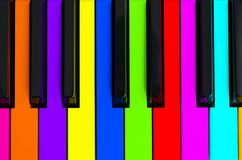 Top view of multicolored piano keys. Close-up of piano keys. Close frontal view. Piano keyboard with selective focus. Top view. Co. Lorful Piano keyboard stock photography