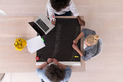 Top view of Multiethnic startup business team on meeting Stock Images