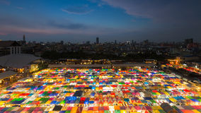 Top view of multiple colour Flea Market at night Stock Images