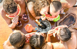 Top view of multiracial friend having fun at sail boat party stock photography