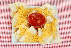 Top view nachos and cheese Royalty Free Stock Image