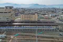 Top view of Nagano train station. Stock Images