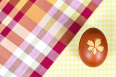 Naturally dyed Easter egg. Top view of naturally dyed Easter egg royalty free stock photography