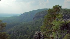 Top view on nature with basalt cliffs in national park reserve Bohemian Switzerland. Top view on beautiful nature with basalt cliffs in national park reserve stock video footage