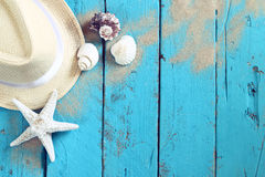 Top view nautical concept with fedora hat and seashells. On aqua wooden background stock images