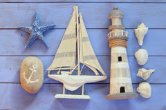 Top view nautical concept with nautical life style objects.  Royalty Free Stock Photo