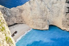 Top view on Navagio Shipwreck. stock photo