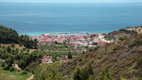 Top view of the Nea Skioni village, Kassandra peninsula, Chalkidiki, Greece stock video