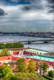 Top view  Neva river in St. Petersburg Trinity Foundry bridge pa Stock Photography