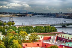 Top view  Neva river in St. Petersburg Trinity Foundry bridge pa Royalty Free Stock Photo