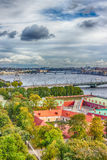 Top view  Neva river in St. Petersburg Trinity Foundry bridge pa Royalty Free Stock Images