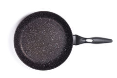 Top view of new empty frying pan isolated on white Royalty Free Stock Image