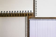 Open notepads set isolated on wooden backdrop royalty free stock images