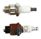 Top View Of New And Used Spark Plugs Stock Photo