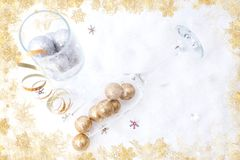 Top view of new year champagne glasses concept royalty free stock photos
