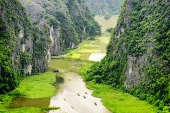 Top view of the Ngo Dong River and boats. Ninh Binh, Vietnam Stock Photos
