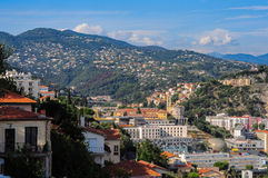 Top view on Nice, mountains, buildings. Sea Royalty Free Stock Photography