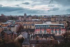 Top view on the night city of Edinburgh royalty free stock photos