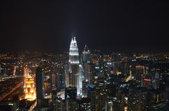 Top view of the night city of Kuala Lumpur from the Menara Tower stock image